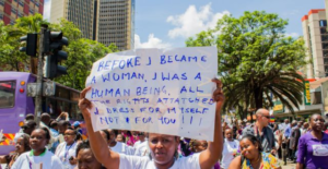 Kenyan women gather at a public protest for bodily autonomy in Nairobi